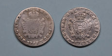 Austrian Netherlands - Double Shilling 1752 Bruges and 1753 Antwerp Maria-Theresia - silver