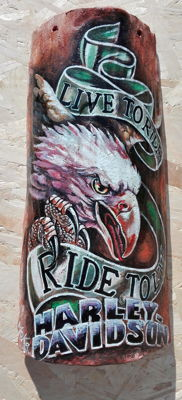 Harley Davidson - antique shingle, hand-painted artwork by Moka - 2012