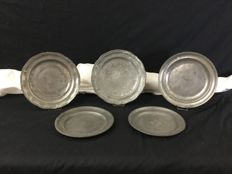 Set of 5 plates or dish in Tin 18th and 19th century France