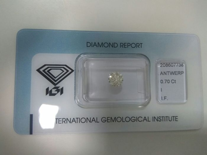 0.70 ct brilliant cut diamond Colour I Loupe Clean IF clarity including certificate IGI EXC EXC EXC
