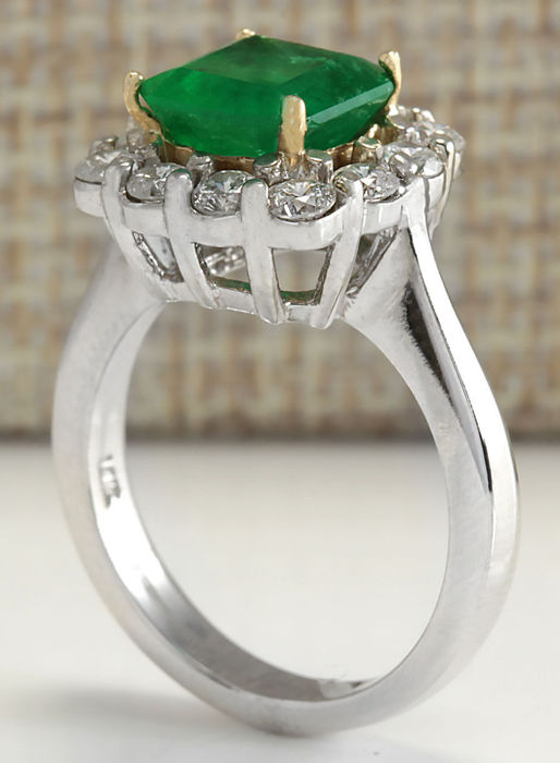 3 15 carat emerald 14k solid white gold ring