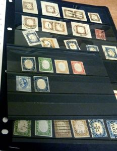 Sardinia 1855/1863 - Lot of stamps; most from Sardinia (one from Toscana), mounted in stock book pages