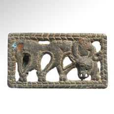 Ordos Bronze Plaque with Grazing Stag, 6.5 cm