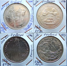 Portuguese Republic - 4 coins - 1,000 escudos, years: 1994, 1996 (2) and 1997 - Silver.