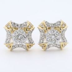 IGI Certified 18 kt/750 Yellow Gold Diamond Earrings - Diamonds 0.98 ct. - 10 mm