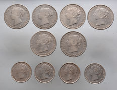 New Foundland - 20 Cents + 50 Cents 1874/1899 (10 pieces) - silver