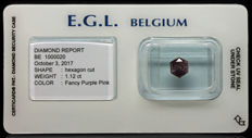 1.12 ct Certified Fancy Purple Pink  Diamond  - NO RESERVE