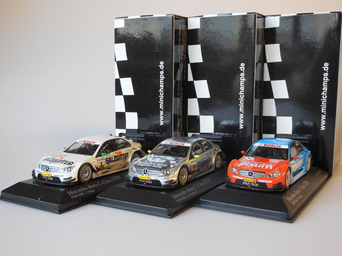 Minichamps - Scale 1/43 - Lot with 3 x Mercedes-Benz C-Class Team AMG-Mercedes DTM 2008