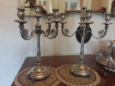 Pair of silver candlestick, manufacturing period early 1900s