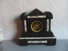 Magnificent pendulum fireplace clock French style empire in black and white marble - Samuel Marti - approx. 1850
