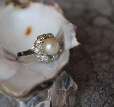 18K 750 Floral Lady's Ring fresh water Pearl 8,2 mm & Rose quartz RS 55 : US: 7,5 : 17,5  mm∅