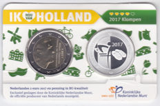 The Netherlands - 2 Euro 2017 'Clogs' including silver medal in Coin card