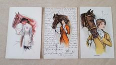 Signed postcards of famous illustrators - ladies with hats, horses, romance, etc. 44x