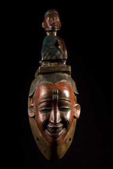 Ceremonial polychrome mask - BAULE - Ivory Coast