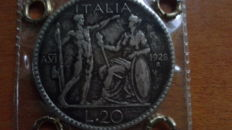 "Kingdom of Italy - 20 Lira coin from 1928, ""Littore"" - Vittorio Emanuele III – silver"