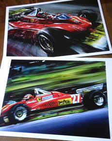 Gilles Villeneuve Ferrari 126 C2 and 312 T4 Grand Prix F1 Car Formula 1 - Art Prints Posters - Hand signed by Artist Andrea Del Pesco + COA.
