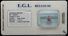 0.75 ct Certified Fancy Purple Pink Diamond  - NO RESERVE