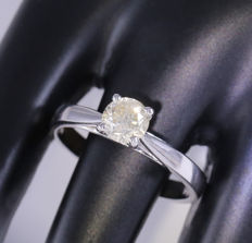 IGI Certified 14 kt White Gold 0.70 ct. Solitaire diamond Ring - no reserve price