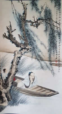A Hand-painted scroll painting《张大千-高仕图》 - China - late 20th century