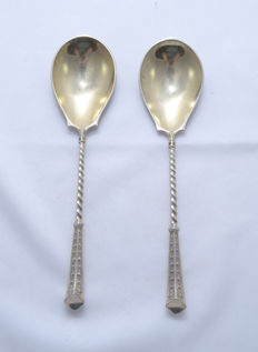 Pair of Serving Spoons - 800 Silver - Gilt - Lazarus Posen - Berlin - Germany - 20th century