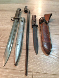 Lot of WWII Mauser Bayonet VZ–24 with Sheath! -Marked -M and Mosin Nagant bayonet and Samopal Bayonet