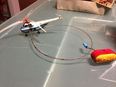 """Arnold, Western Germany - length 15 cm - Tin """"Piccolo Remote Control Helicopter Sabena"""" with crank mechanism, 1950s"""