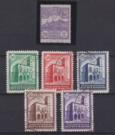 San Marino, 1903/1932 – 1 specimen of 2L violet and complete series from 1932
