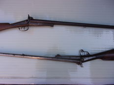 Lot of two old pin fire rifles.