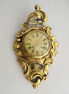 Original Swedish Carved & Gilded Wall Clock c 1940
