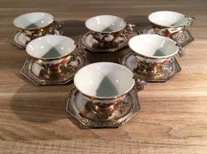 6 silver tea cups and saucers 900 Sterling, Vietnam gold painted
