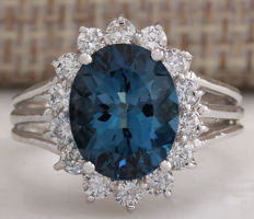 4.37 Carat London Blue Topaz 14K Solid White Gold Diamond Ring*** Free shipping *** No Reserve *** Free Resizing