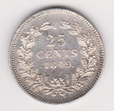 The Netherlands – 25 cents 1849, Willem II – silver