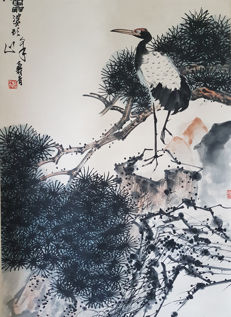 Hand-painted ink scroll painting《潘天寿-松鹤延年》- China - late 20th century