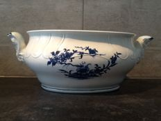 Tournay / Doornik large oval bowl with blue floral decor