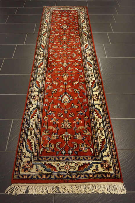 Magnificent hand-knotted Indo Qom runner, 83 x 300 cm, made in India