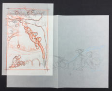 Disney Studio - Pair of sketches for publication - Winnie The Pooh