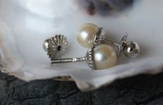 Classic 585 White Gold Lady's Earring / Stud with white Pearls c. 7,2  mm ∅