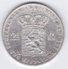 Netherlands - 2½ guilders 1864a Willem III - silver