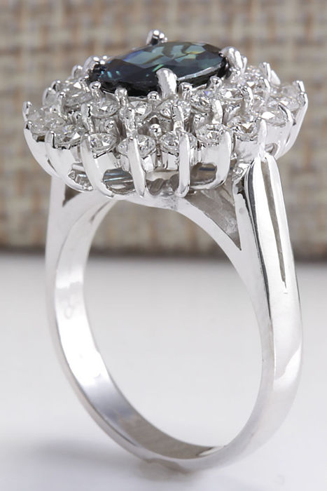 3 32 carat sapphire 14k solid white gold ring