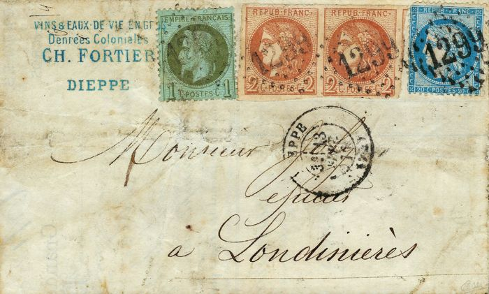 France September 1871 - Bordeaux 2 cents pair Cérès perforated 20 cents blue and Empire with laurels cent on letter - Yvert no. 25, 37 and 40