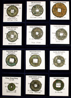 Lot of 12 Chinese Coins from 200 BC to 1127 AD. Han, Wang Mang, Wei, Tang, Song, Jin dynasties - All Classified
