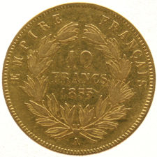 France – 10 Francs 1855A Napoleon III – gold