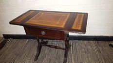 English lop table with inlaid table top made of cappucino leather-inRegency style, second half of 20th century
