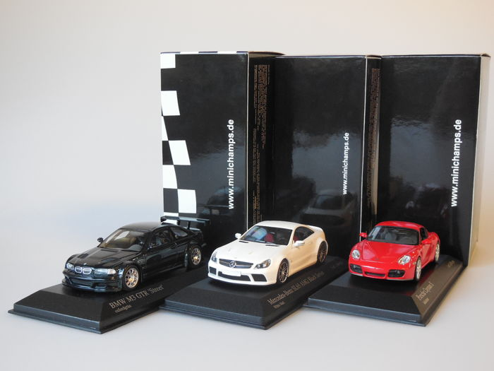 Minichamps - Scale 1/43 - Lot with 3 Duitse models: BMW, Mercedes-Benz & Porsche