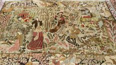 Magnificent Authentic semi antique pictorial (Tableau) persian (Leyli and Majnun) silk Ghom rug. 160cm x 113 cm, 600,000 - 700,000 Knots per sq. meter, always hanged on the wall never used on the floor. (Around 1950)