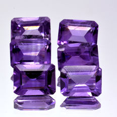 6 amethysts - 8.85 ct in total