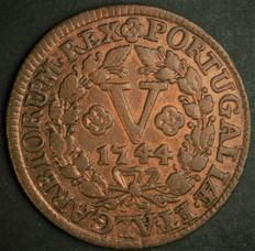 Portugal Monarchy - João V - V Reis 1744 - Smaller Module - Copper