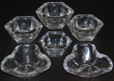 6 large crystal Val Saint Lambert ashtrays - mid 20th century