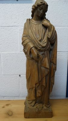 Standing angel - wood sculpture - 19th century