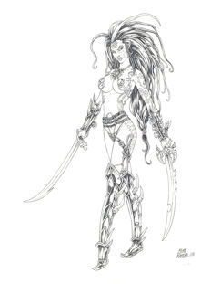 Ratera, Mike - Original drawing - Elven Warrior Princess III - Warhammer - (2008)